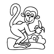 _ funny monkey with banana coloring pages