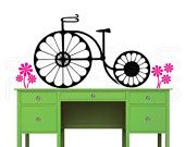 """Wall decal DAISIES BICYCLE Vinyl art stickers decor for walls by Decals Murals (22"""" x 46"""")"""