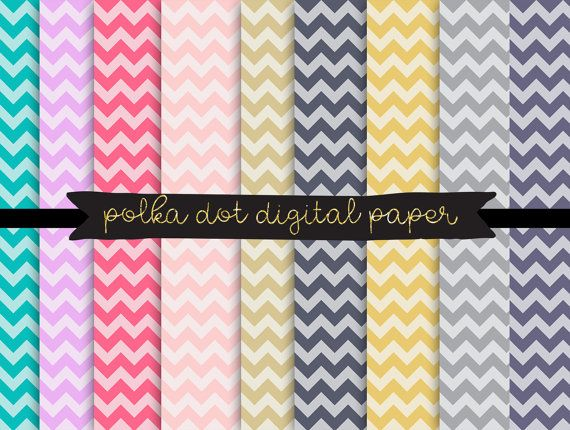 Chevron digital paper, Rainbow Chevron Digital Papers, chevron pattern, chevron scrapbook invitation paper, Digital Paper for Commercial Use