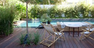 Raised Small Plunge Pool Wooden Deck Design Ideas, Pictures, Remodel and Decor