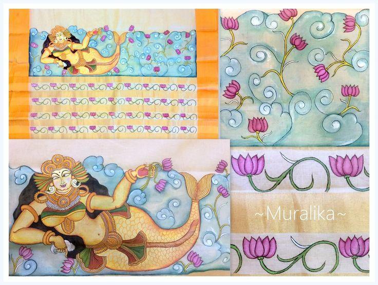 Kerala Mural painting -Mermaid-on saree pallu