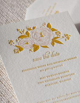 Affordable Letterpress Wedding Invitations Peonies - Elum