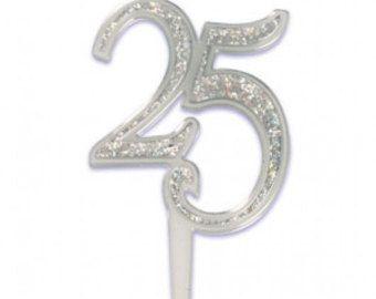 25th wedding anniversary $3 cake number | Etsy