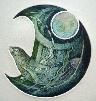 Seal O Sule Skerries by Louise Scott (etching)
