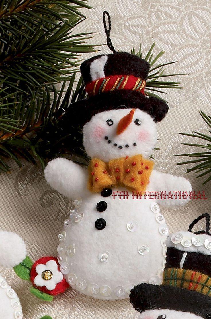 Snowman face ornament - Bucilla Let It Snowman 6 Piece Felt Christmas Ornament Kit 86186 Frosty Lady Ebay