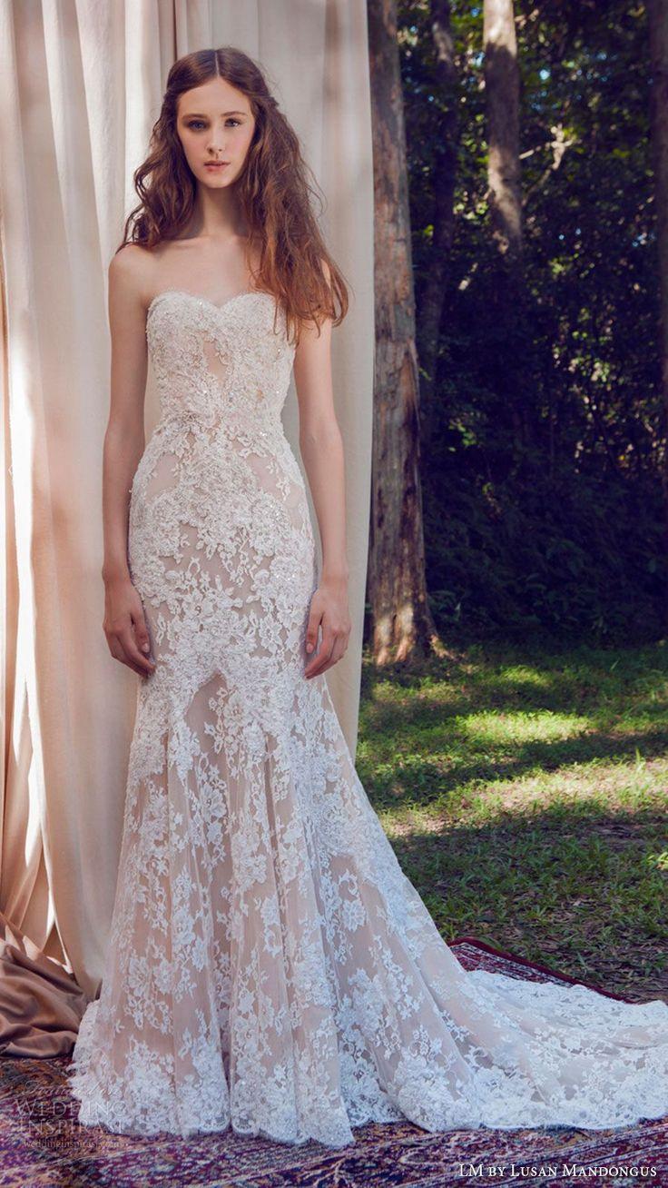 lm lusan mandongus bridal 2017 strapless sweetheart lace mermaid blush color wedding dress (lm3249b) mv train