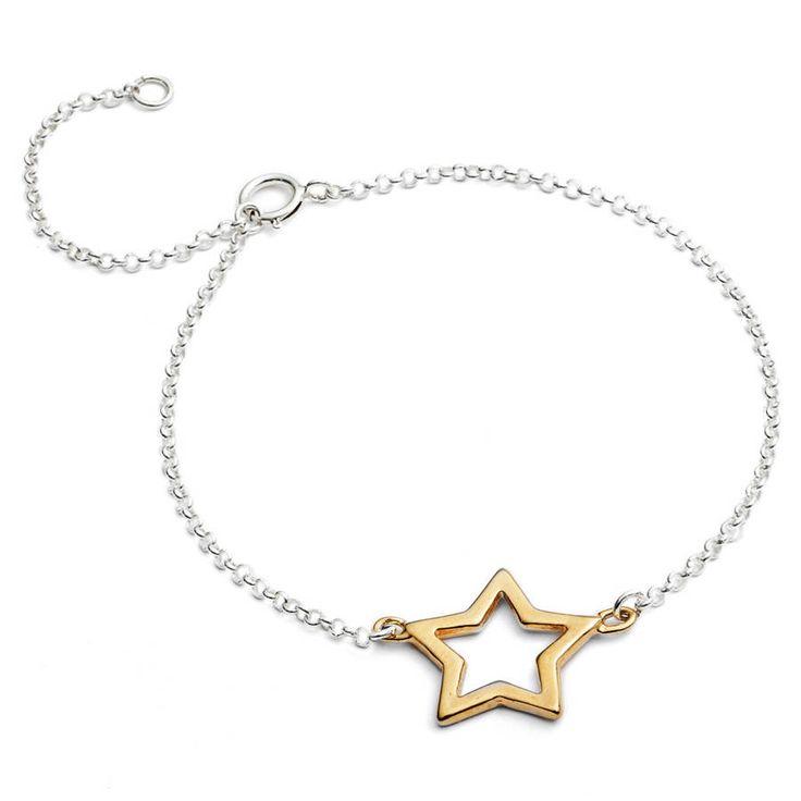 gold silver star link bracelet