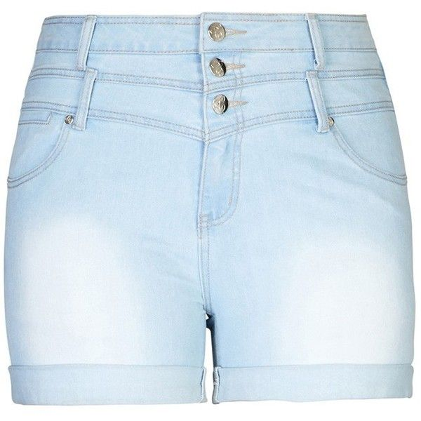 City Chic Hi Waist Short Short - Light ($59) ❤ liked on Polyvore featuring shorts, bottoms, destroyed shorts, zipper shorts, ripped short shorts, torn shorts and ripped shorts