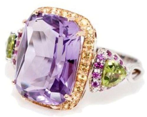 Anello con ametista, peridoto e diamanti gialli http://molu.it/gioielli-con-ametista/