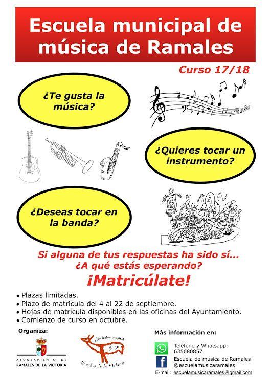 Abierto plazo matriculación Escuela municipal de música de Ramales del 4 al 22 de Septiembre en las oficinas del +Ayuntamiento de Ramales de la Victoria
