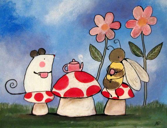 Woodland Nursery Art. Cute Whimsical Artwork for Baby by andralynn