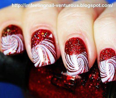 Candy Cane Christmas Nail Art For Short Nails -