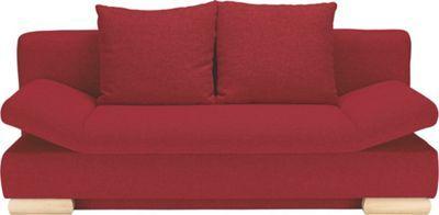 Dieses Sofa mit Schlaffunktion in feurigem Rotist ein echtes Multitalent! Der gemütliche 2-Sitzer mit Rückenkissen ist gleichzeitig ein bequemes Bett. Im Bettkasten können Sie beispielsweise tagsüber Ihre Bettwäsche, Laken oder Kissen aufbewahren. Dazu klappen Sie lediglich die Rückenlehne um. Schon haben Sie eine Liegefläche von ca. 200 x 145 cm (L x B). Die stabilen Füße der Schlafcouch sind aus buchefarbenem Holz gefertigt. Auf der Sitzfläche mit Federkern sitzen Sie auf einer Höhe von…