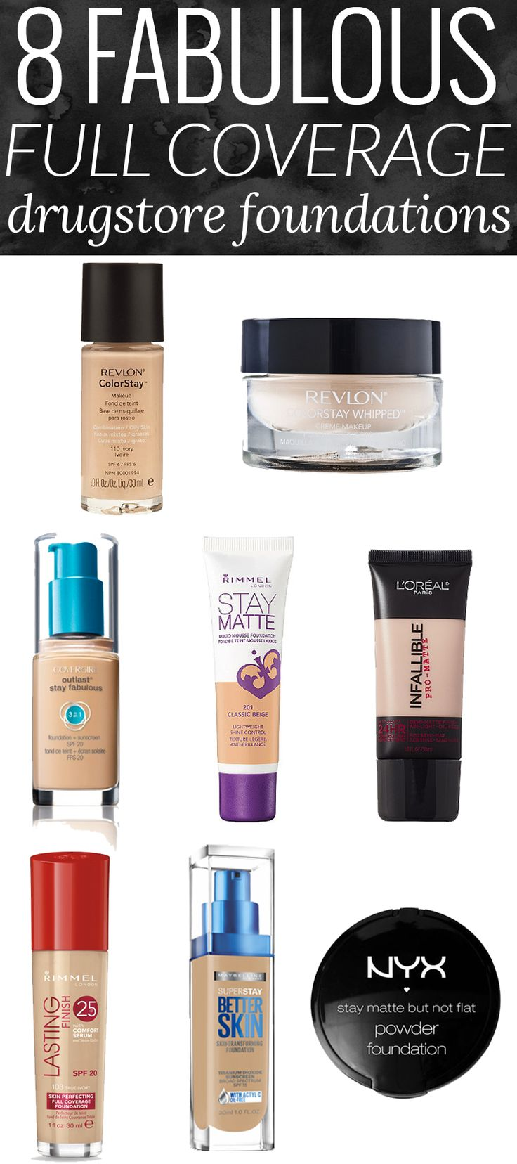8 Fabulous Full Coverage Drugstore Foundations - these are some of my absolute favorite full coverage foundations, period!