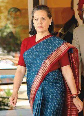 Sonia Gandhi in a crisp cotton sari