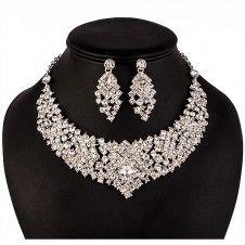 SET bijuterii mireasa Safiria colier si cercei placate cu argint 925 si cristale