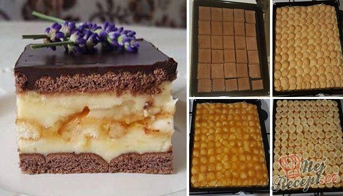Nic lepšího neexistuje jako nepečený sladký dezert s vanilkovým pudinkem, piškoty, banány a luxusní čokoládovou polevou, která se při krájení neláme. Autor: adanecka