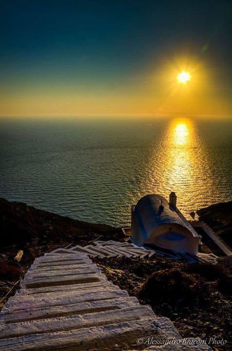 Sunset over Olympos village, Karpathos