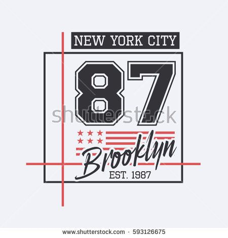 Vector illustration on the theme of New York City, Brooklyn. Stylized American flag. Number sport typography, t-shirt graphics, poster, print, banner, flyer, postcard