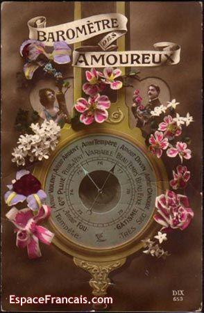 Baromètre des Amoureux - Ancienne carte de Saint-Valentin.