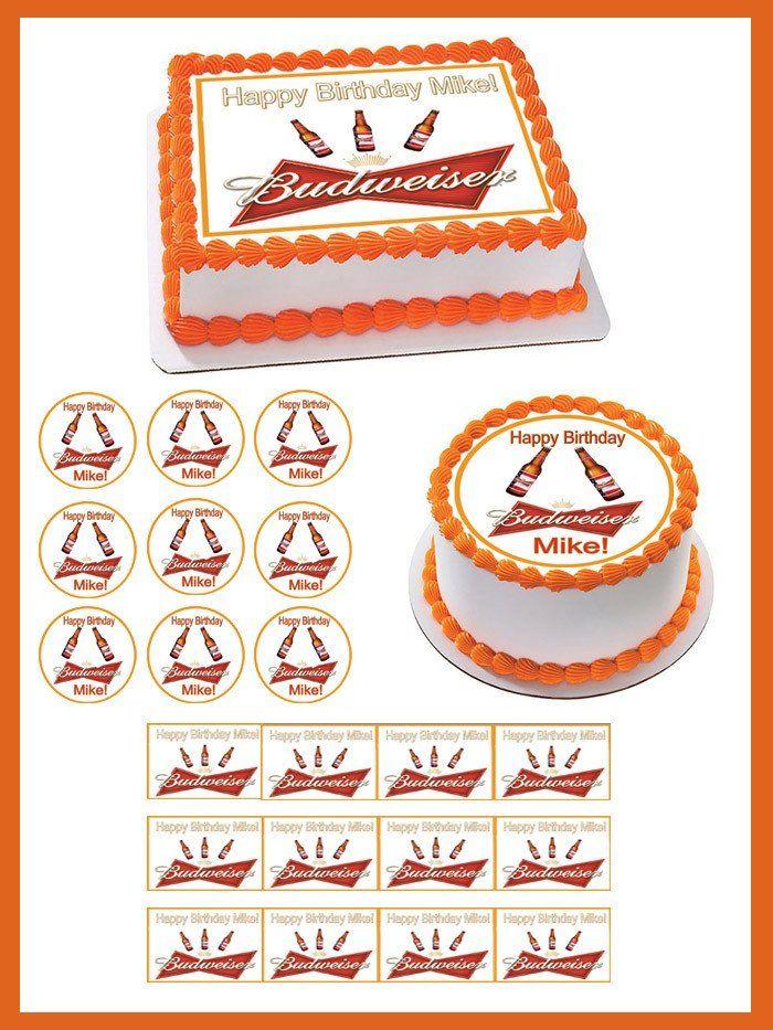 Beer Budweiser Edible Birthday Cake Topper OR Cupcake Topper, Decor - Edible Prints On Cake (Edible Cake &Cupcake Topper)