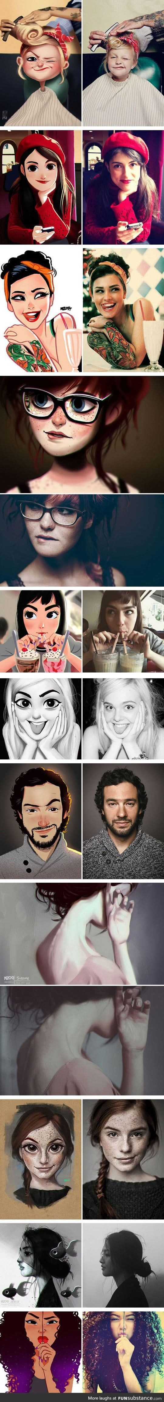 Artist turns photos of random people into fun illustrations