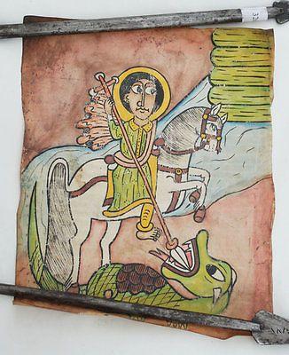 Äthiopien: Leder-Gemälde Heiliger Georg handgemalt ***