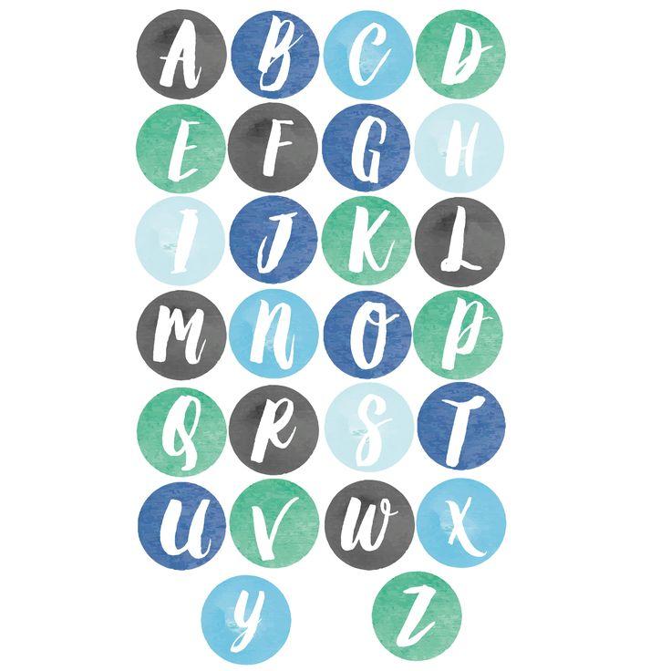 Alphabet dot set - watercolors