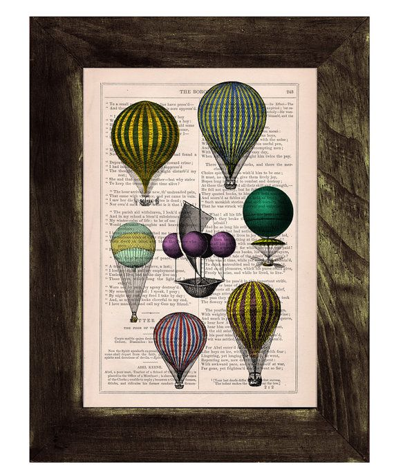Spring sale home decor book print hot air balloon for Balloon decoration book