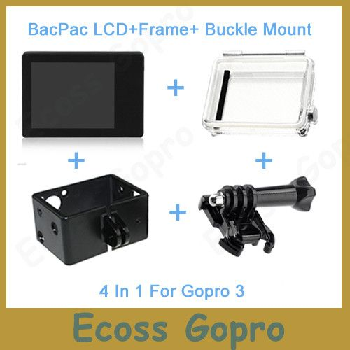 Gopro LCD Gopro hero3/3+/Hero4 LCD screen BacPac display+Back Door Case Cover+Extension