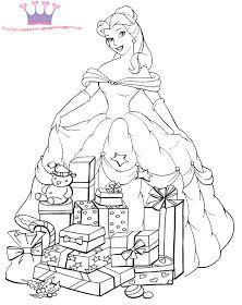 PRINCESS COLORING PAGES: CHRISTMAS PRINCESS COLORING PAGE
