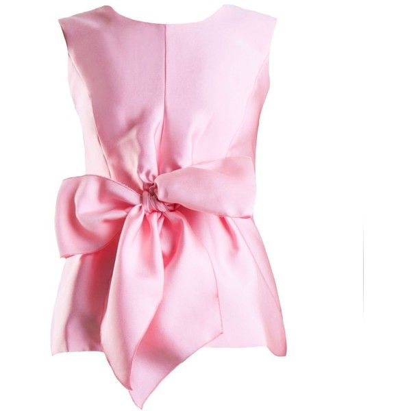 Yanny London Pink Sleeveless Tie Bow Top ($150) ❤ liked on Polyvore featuring tops, pink, women, pink top, bow top, sleeveless collared top, sleeveless tops and collar top