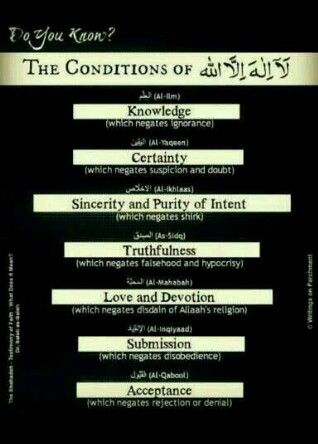 The conditions of La Illaha Ilalaha (There is no God but Allah)