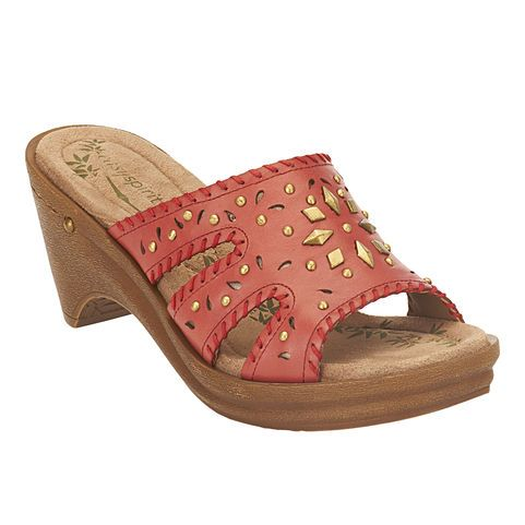 """Easy Spirit's Melinka comes in red, champagne or tan leather. Super cute wedge sandals for summer! This cut out and stud detailed sandal is the perfect shoe for day to night! The Melinka is easy to slip on and is perfect for your travels! Elevated by a 3/4"""" platform and 2 3/4"""" heel (equivalent to 2""""). $59.99"""