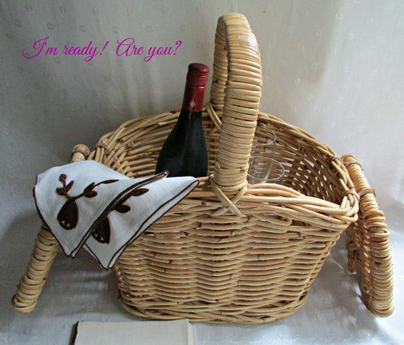 Wicker Double Lid Picnic Basket Crafts Sewing by EauPleineVintage