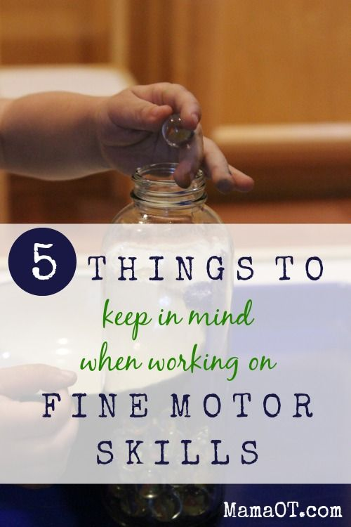 5 things to keep in mind when working on fine motor skills -- tips from an occupational therapist. Helpful info for therapists, parents, teachers, or anyone else who works with kids!