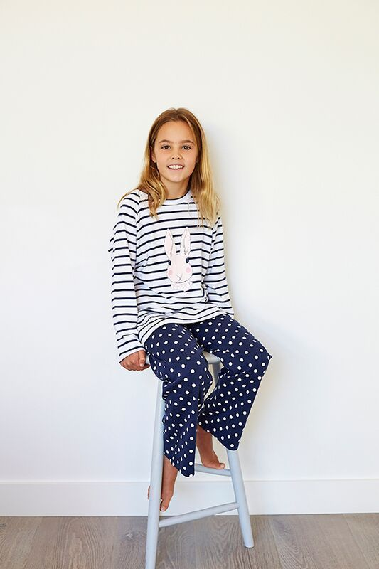Winter Teen Stripe bunny in Navy