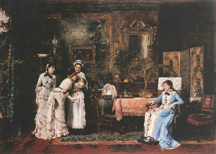 Mihaly Munkacsy, Baby's Visitors, late 19th c.