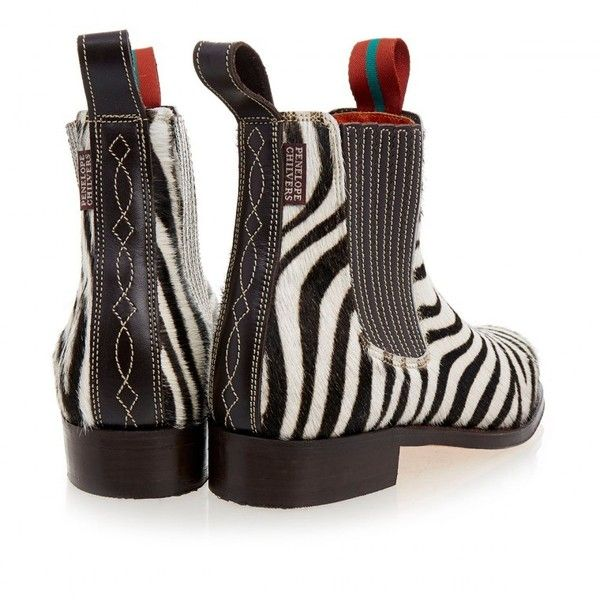 Penelope Chilvers Chelsea Zebra Print Calf Hair Boot ❤ liked on Polyvore featuring shoes, boots, zebra print boots, penelope chilvers, haircalf shoes, zebra shoes and zebra boots