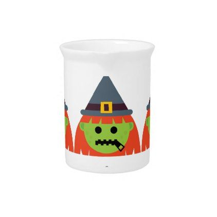 witch All Emoji Halloween Drink Pitcher - halloween decor diy cyo personalize unique party