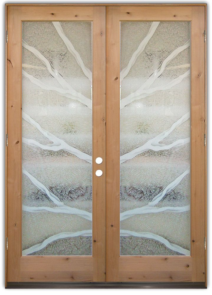 Branches 2d Double Entry Doors Hand Crafted Sandblast