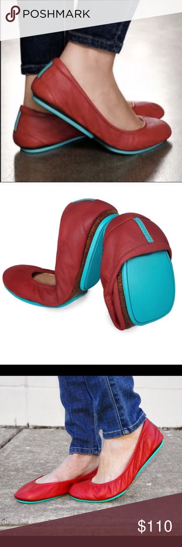 "Tieks Cardinal red cute comfy foldable flats sz 9 Authentic Tieks - ""Be bold in Cardinal Red Tieks! This stunning style acts as both a modern neutral and a striking pop of color. 100% premium, soft, full-grain leather Non-elasticized, cushioned back. Non-skid rubber soles and cushioned instep."" Good used condition. Slight scratches at tip of toebox but not noticeable unless at eye level. See pics for signs of wear. Listed as sz 9 but runs small, I recommend this as a good fit for regular…"