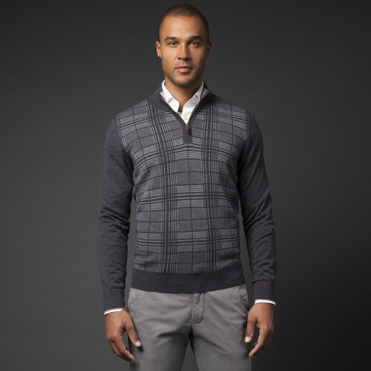 Navy 1/4-zip Tattersall Sweater is casual yet sophisticated.