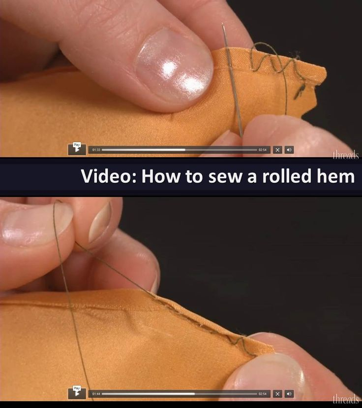 Sewing tutorial: How to sew a rolled hem [http://www.threadsmagazine.com/item/43496/video-sew-a-hand-rolled-hem] #sewing