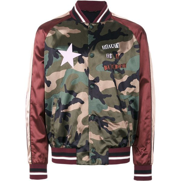 Valentino Camouflage satin bomber (48,380 THB) ❤ liked on Polyvore featuring men's fashion, men's clothing, men's outerwear, men's jackets, multicolour, mens bomber jacket, mens satin bomber jacket, mens satin jacket, mens camo bomber jacket and mens striped jacket