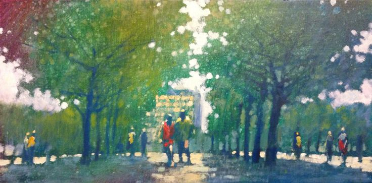 Spring in the Tuilleries, Paris. Oil on canvas 30 x 60cm