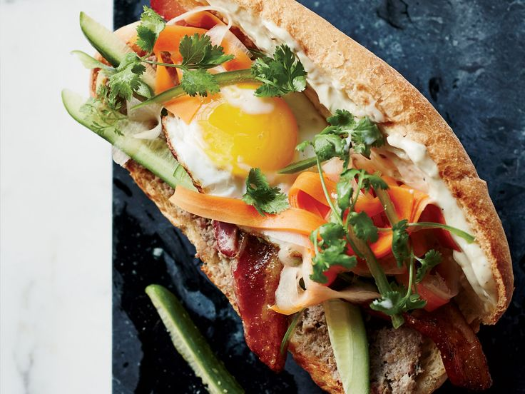 Breakfast Banh Mi Sandwiches - This outstanding Vietnamese banh mi includes duck pâté and spicy pickles along with, less conventionally, five-spice-flavored bacon and a fried egg. http://www.foodandwine.com/recipes/breakfast-banh-mi-sandwiches