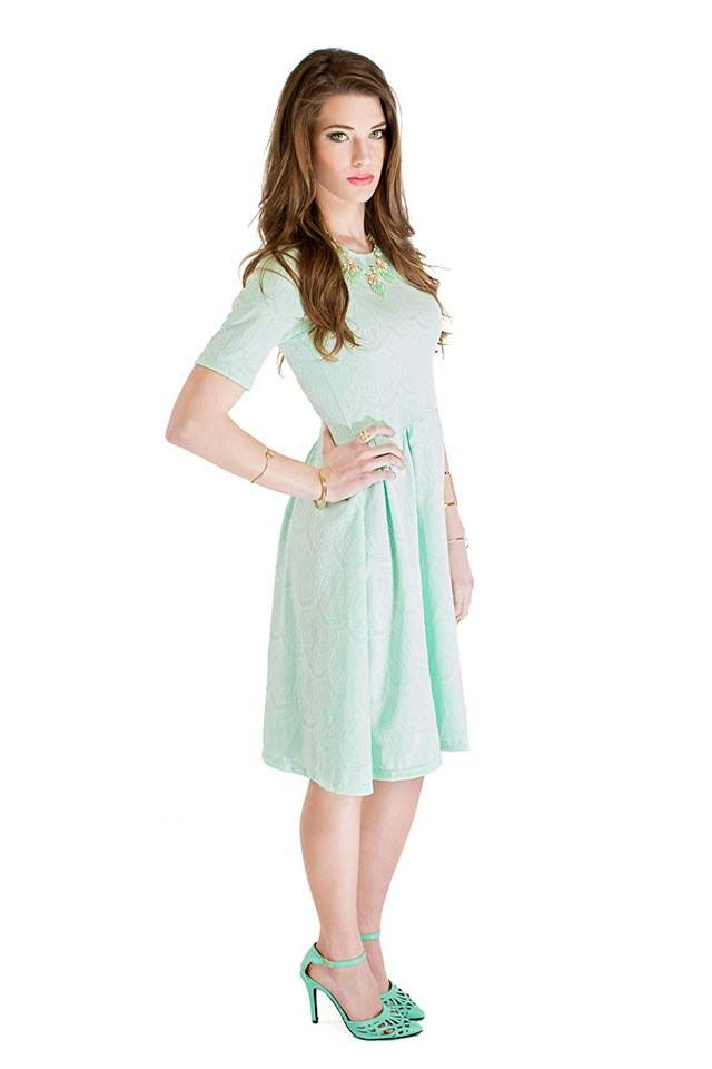 """""""Nicole"""" Modest Lace Dress in Mint.  Also available in a turquoise color."""