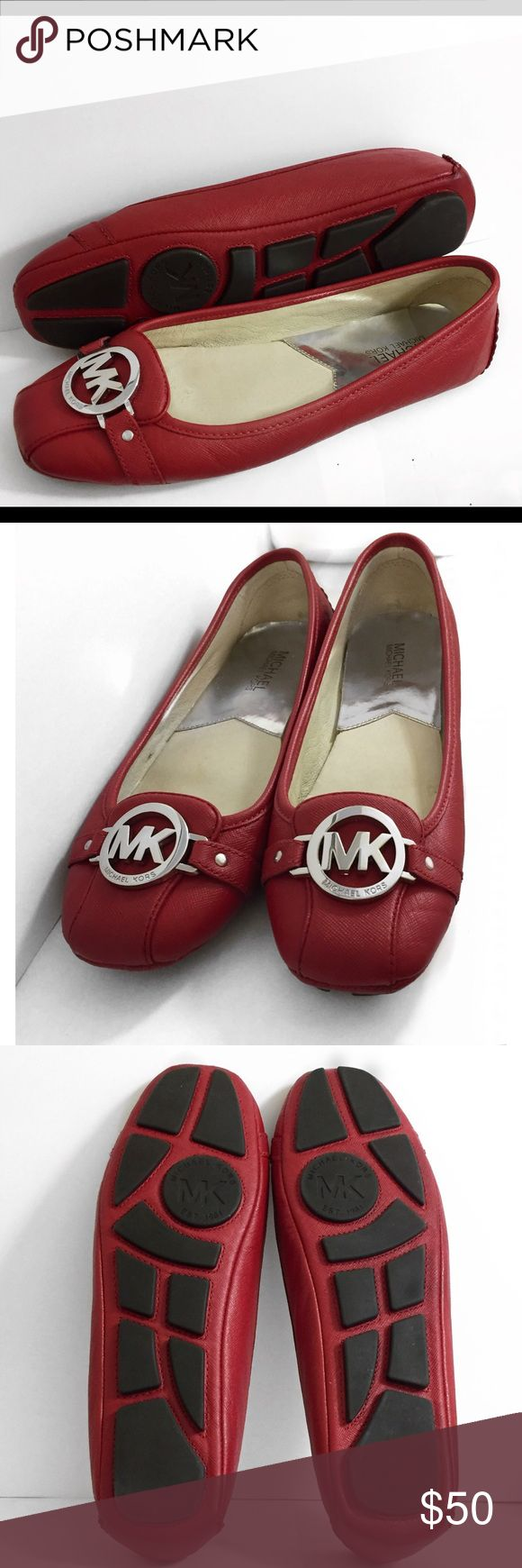 Michael Kors Fulton Moc Ballerina Red Flats- 9.5 Pre-owned bright red MK flats in shoe size 9.5 kept in excellent condition. Chrome hardware shines brightly and shoe soles barely look worn. Michael Kors Shoes Flats & Loafers