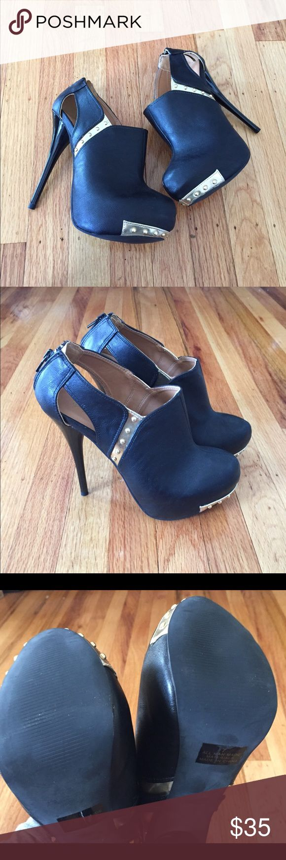 NWOT Black and Gold Stiletto Booties NWOT Black and Gold Stiletto Booties Size 7 Brand New without box Qupid Shoes Ankle Boots & Booties